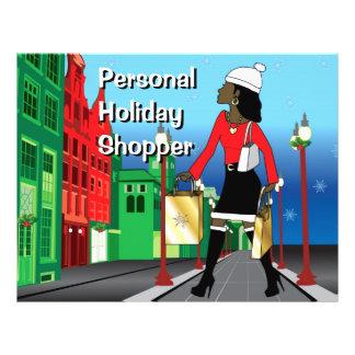 Navidad de la mujer que hace compras con la moda v flyer a todo color