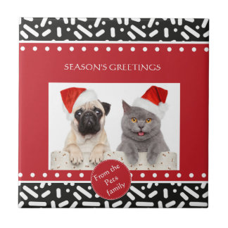 Navidad de la nieve inmóvil y regalos azulejo cuadrado pequeño