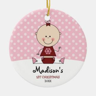 Navidad de la niña de los copos de nieve 1r adorno navideño redondo de cerámica