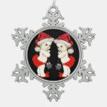Navidad de la niña del gemelo del bebé de Santa Adorno De Peltre En Forma De Copo De Nieve