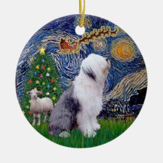 Navidad de la noche estrellada - perro pastor adorno redondo de cerámica