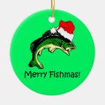 navidad de la pesca adorno redondo de cerámica