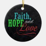 Navidad de la pizarra de la esperanza y del amor adorno redondo de cerámica