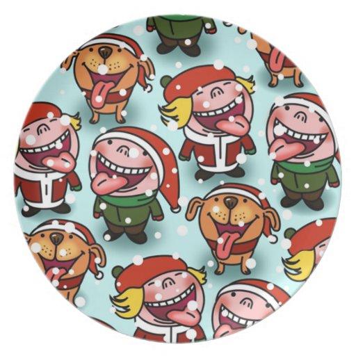 Navidad de la placa platos