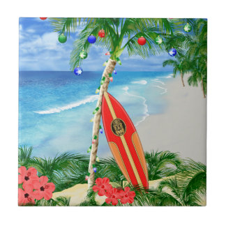 Navidad de la playa azulejos