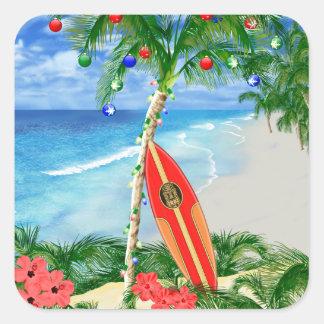 Navidad de la playa pegatina cuadrada