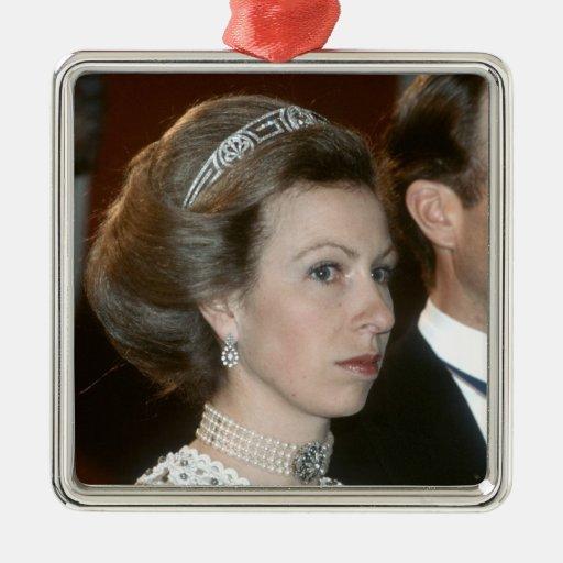 Navidad de la Princesa Real de HRH Adorno Cuadrado Plateado