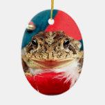 Navidad de la rana, malla, plumas, modelo de santa ornamentos de navidad