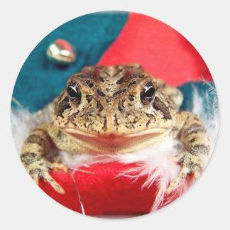 Navidad de la rana, malla, plumas, modelo de santa etiqueta redonda