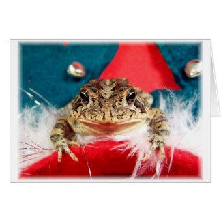 Navidad de la rana, malla, plumas, modelo de santa tarjeta pequeña