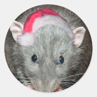 Navidad de la rata de Santa Dumbo Etiqueta Redonda