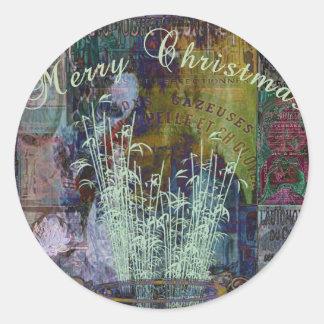 Navidad de la reflexión de la libertad pegatina redonda
