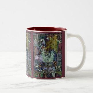 Navidad de la reflexión de la libertad taza de café de dos colores