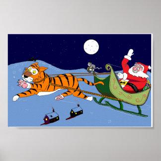 Navidad de la reserva del gatito y del tigre póster