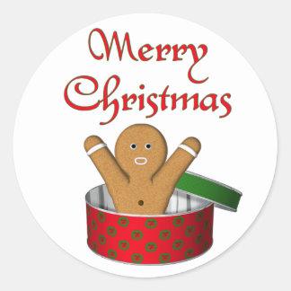 Navidad de la sorpresa del pan de jengibre del KRW Pegatina Redonda