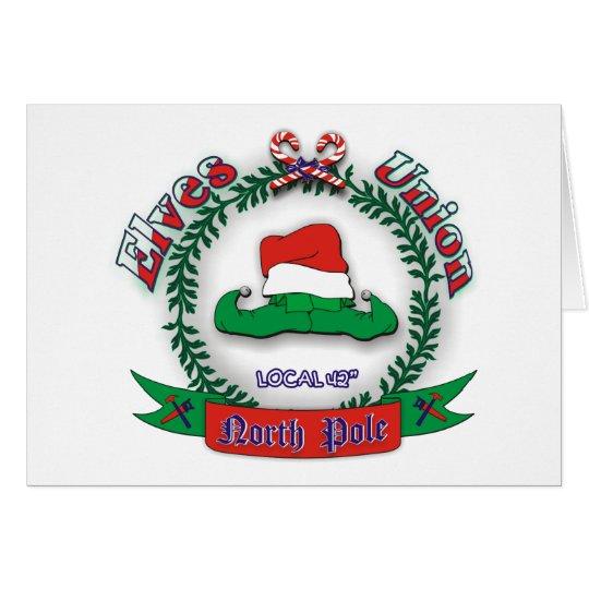 Navidad de la unión de los duendes tarjeta de felicitación