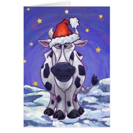 Navidad de la vaca tarjeta pequeña