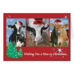 Navidad de la vaca tarjeton
