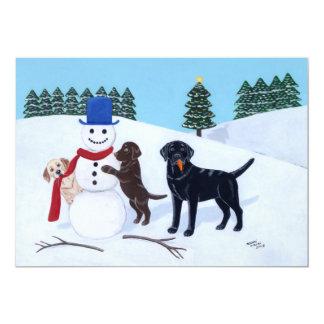 """Navidad de Labrador con el muñeco de nieve Invitación 5"""" X 7"""""""