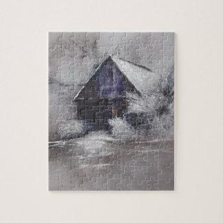 Navidad de las escenas de la cabaña de la nieve puzzles con fotos
