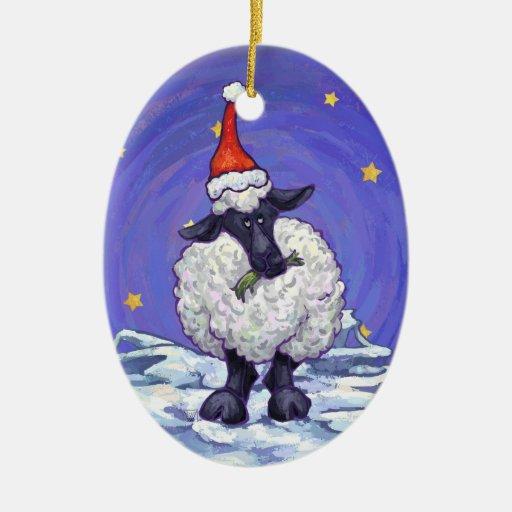Navidad de las ovejas adorno navideño ovalado de cerámica
