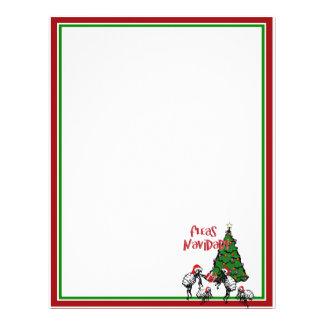 NAVIDAD de las PULGAS - Pulgas y árbol de navidad Plantilla De Membrete