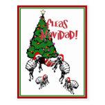 NAVIDAD de las PULGAS - Pulgas y árbol de navidad Postal