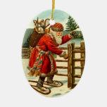 Navidad de las raquetas de Papá Noel del vintage d Ornaments Para Arbol De Navidad