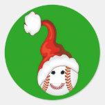 Navidad de los aficionados al béisbol etiquetas redondas