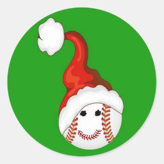 Navidad de los aficionados al béisbol pegatina redonda