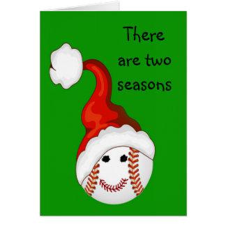 Navidad de los aficionados al béisbol tarjeta de felicitación