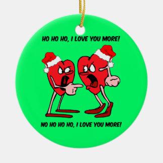 navidad de los amantes adorno redondo de cerámica