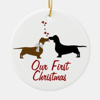 Navidad de los amantes del Dachshund primer de enc Adorno Para Reyes