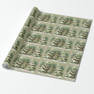 Navidad de los árboles del vintage papel de regalo