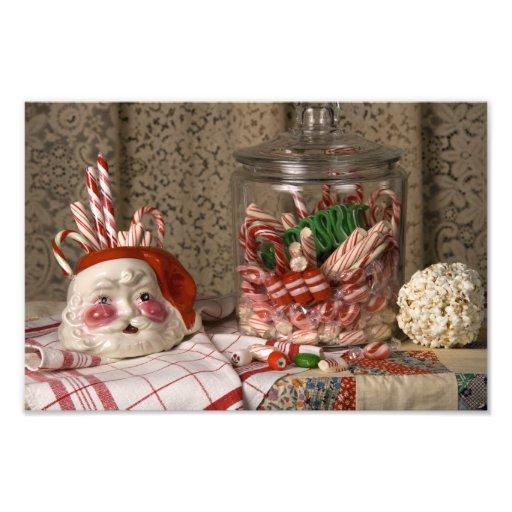 Navidad de los bastones del florero y de caramelo  impresion fotografica