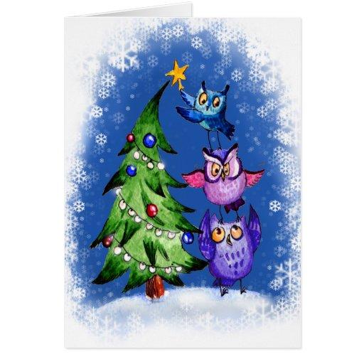 Navidad de los búhos azul tarjeton