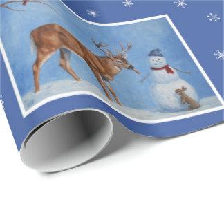 Navidad de los ciervos y del muñeco de nieve papel de regalo