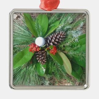 Navidad de los conos y de los árboles de hoja adorno cuadrado plateado