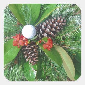 Navidad de los conos y de los árboles de hoja pegatina cuadrada