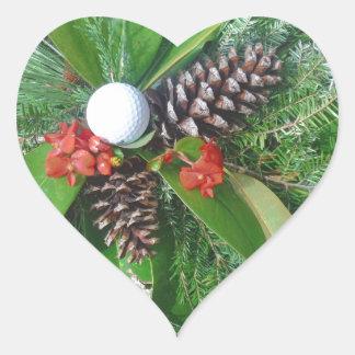 Navidad de los conos y de los árboles de hoja pegatina en forma de corazón