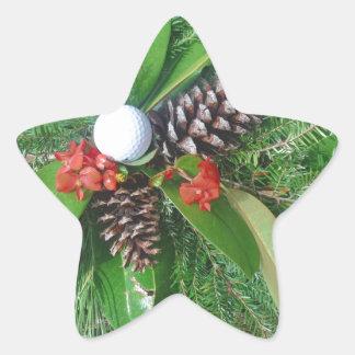 Navidad de los conos y de los árboles de hoja pegatina en forma de estrella