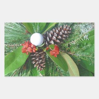 Navidad de los conos y de los árboles de hoja pegatina rectangular