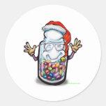 Navidad de los contadores de haba pegatina redonda