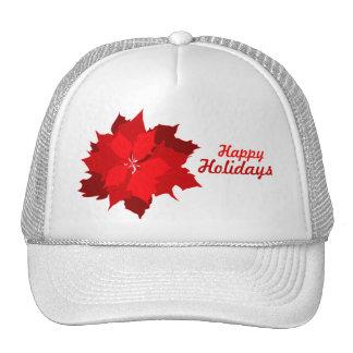 Navidad de los días de fiesta del Poinsettia rojo  Gorras De Camionero