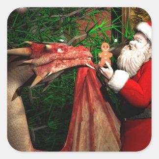 Navidad de los dragones pegatina cuadrada