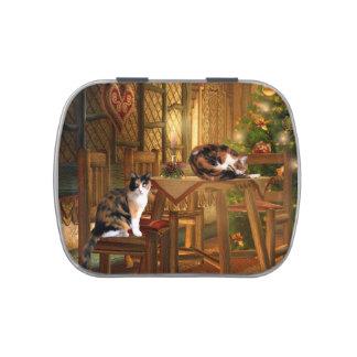 Navidad de los gatitos del calicó frascos de caramelos