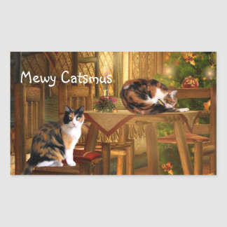Navidad de los gatitos del calicó pegatina rectangular