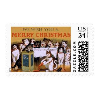 Navidad de los gatos del vintage que saluda sellos