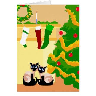 Navidad de los gatos siameses tarjetón