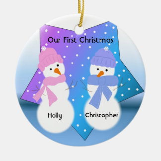 Navidad de los gemelos de los muñecos de nieve adorno navideño redondo de cerámica